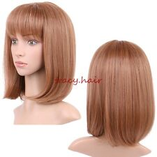 Breathable Short Hair Full Wigs Brown Blonde Heat Resistant Synthetic Daily Wig
