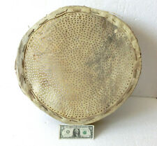 """22+"""" overzised Antique RUSTIC Flour Sieve Sifter Wood & leather strainer bottom"""