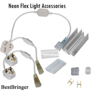 LED Flex Neon Tube Rope Power Adapter connecting pin Clip, cap Light Accessories