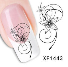 Nail Art Water Decals Transfer Stickers Elegant Black Flower Manicure Decoration
