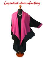 Lagenlook SWINGER-Sweat-Mantel Doubleface schwarz-pink 48,50,52,54,XXL,3XL,4XL