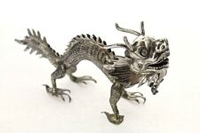 Antique Chinese Export Silver Dragon Figure Signed KMS for Kwong Man Shing - SL