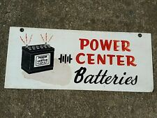 Vintage advertising power center batteries sign gas oil display