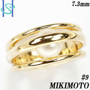 MIKIMOTO ring Yellow gold Akoya pearl ring US size 5 Auth #061715