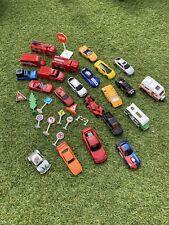 Toy Car Bundle - Fire Trucks, Mixed Cars, Road Signs Bundle