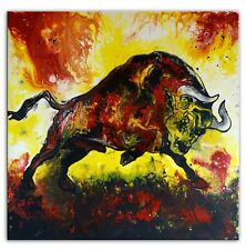 BURGSTALLER Wilder Stier gelb rot abstrakt Fluidpainting Acrylbild Gemälde Kunst