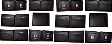 Lot of 12 FIZA NY Leather men's bifold Black wallets, 2 card center pieces 3 IDs