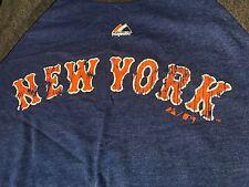 Mets Medium Ladies Women Shirt  New York Blue Gray Patch Logo Majestic