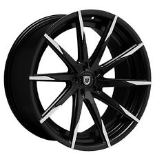 "24"" Lexani Wheels staggered CSS-15 Black W Machined Tips Rims and Tires /w TPMS"