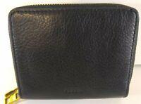 Fossil Women's Wallet Mini Multifunction Black Leather NWT RFID Double Zip