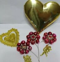 Mercury Glass Bead INDENT FLOWERS RED Christmas Ornaments Corsage VALENTINES 3