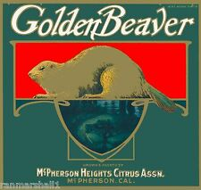 Orange County McPherson Golden Beaver Orange Citrus Fruit Crate Label Art Print