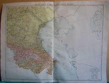 1919 Mapa Grande-Europa-Rusia South East & caucásica Estados, Georgia, Armenia, AZE