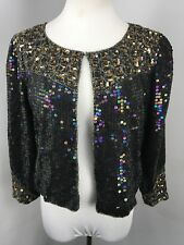 Vtg 80s Iridescent Jacket Caridgan Flapper Gatsby Sequin Nwt New 100% Silk Sz S