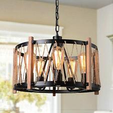 Rustic Wood Metal Chandelier Farmhouse Pendant Light Ceiling Light Fixtures