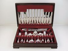 67 pce SILVER CANTEEN of RATTAIL CUTLERY SET, 6 person STERLING flatware service