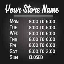 Custom Business Store Hours Vinyl Window Decal 11x12 Sticker Sign Glass Door
