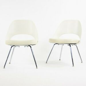 2014 Knoll Studio Eero Saarinen Executive Armless Side Chairs White 100+ Avail
