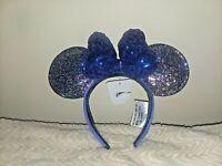 Disney Parks Mickey Minnie Mouse Blue Sequin Bow 2020 Ears Headband
