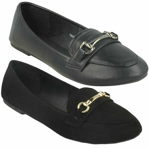 LADIES SPOT ON BLACK SLIP ON LOAFERS FLAT CASUAL BALLEERINA PUMPS SHOES F8R0299