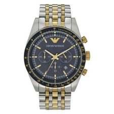 Armani Uhren AR6088 Blue Dial & Zwei Tone Edelstahl Chronograph Herrenuhr
