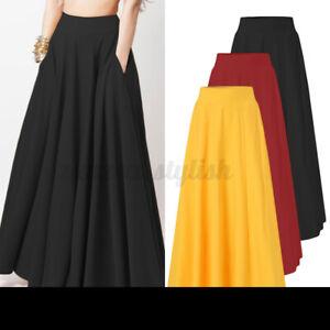 ZANZEA Women Plain Solid Basic High Waist Skirt A-Line Skirt Ladies Maxi Dress