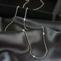 18K WHITE GOLD PLATED BEAD DOT CHAIN NECKLACE 80CM EXTRA LONG 2mm XL