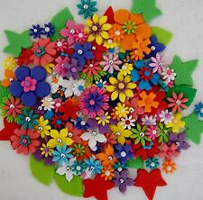SUGAR FLOWERS WITH LEAVES EDIBLE x 100 - MIXED COLOURS AND SIZES  *BULK PACK*
