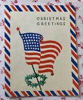 Vintage 1940s UNUSED Christmas Greeting Card Old Glory U.S. Flag Americana