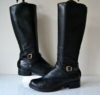 """CLARKS """"NESSA CLARE"""" BLACK LEATHER KNEE HIGH FLEXIBLE CALF BOOTS UK4EE RRP £110"""