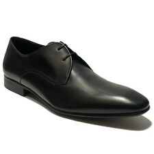 Ferragamo Black Leather Plain Toe Derby 11 D 44 Men's Dress Shoes Fashion Oxford