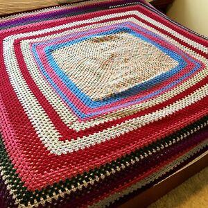 Boho Granny Multi-Coloured Crochet Afghan Rug 140x140cm Approx Vintage Handmade