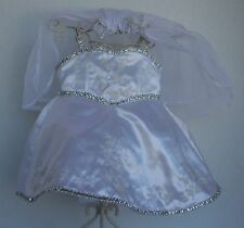 BUILD A BEAR WEDDING DRESS with veil and hanger White Satin Silver Trim