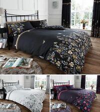 Maria Floral Duvet Quilt Cover & Pillow Case Bedding Set Black Grey Purple