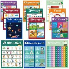 Educational Preschool Learning Posters for Toddlers, Kids, Numbers Alphabet