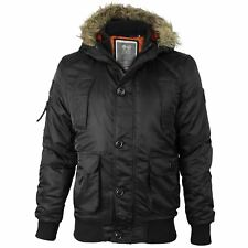 Mens Crosshatch Ma1 Bomber Faux Fur Hood Diamon Quilted Lined Jacket Parka Coat Black Medium