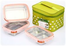 STENLOCK-Rect Food container Lunch Box(S) Stainless steel Airtight 3pcs set