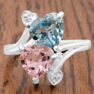 Pink Morganite Simulated and Aquamarine 925 Silver Ring s.7.5 Jewelry 2709