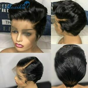 Short Straight Pixie Cut Lace Frontal Human Hair Wig Brazilian Remy Hair Wigs