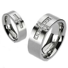 Solid Titanium Wedding Engagement Band Cross Pave Setting Multi CZ Brushed Ring