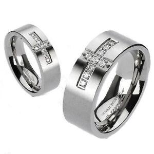 Solid Titanium Wedding Engagement Band Cross Pave Setting Multi CZ Brushed Ring