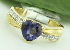 1.01 ct 14k Solid Yellow Gold Natural Diamond & Heart shape Iolite Ring