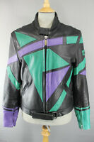 AMAZING BLACK, GREEN AND PURPLE UVEX LEATHER BIKER JACKET 40 INCH