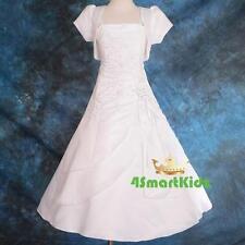 White Wedding Flower Girl Bridesmaid Communion Dress 4