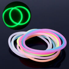 10PCS Luminous Neon Silicone Rubber Hair Band Charm Wristband Bracelet Jewelry
