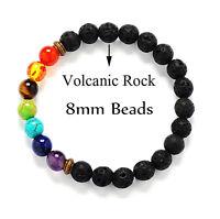 7 Chakra Healing Balance Beaded Lava Bracelet Natural Stone Yoga Reiki Prayer