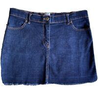 Sass & Bide Size 10 Blue Denim Mini Skirt Distressed hem pockets, zip fly button