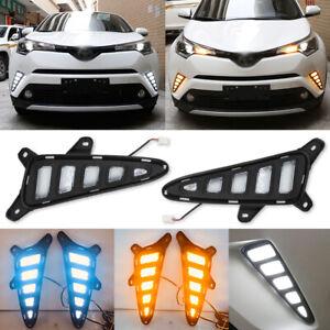 For Toyota C-HR CHR 2016-2019 DRL LED Daytime Running Light Turn Signal Fog Lamp