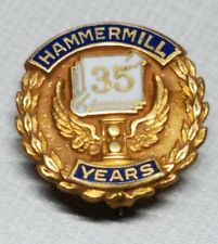 VINTAGE EMPLOYEE SERVICE AWARD PIN 10K GOLD FILLED 35 YR HAMMERMILL PAPER CO