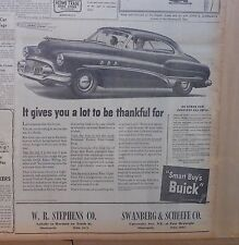 1951 newspaper ad for Buick - It gives you a lot to be thankful for, Smart Buy